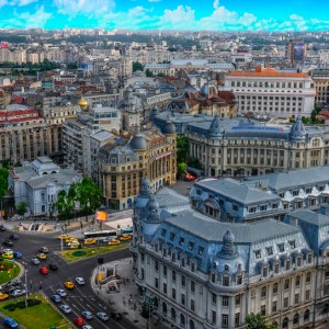 Aerial Panorama over Bucharest, Romania.